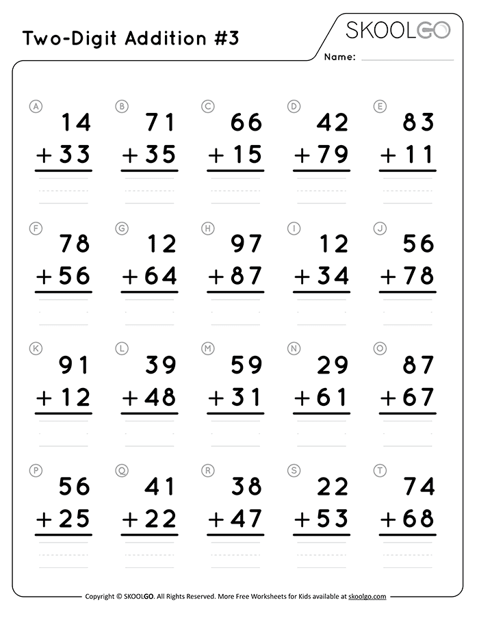 Two-Digit Addition 3 - Free Black and White Worksheet for Kids