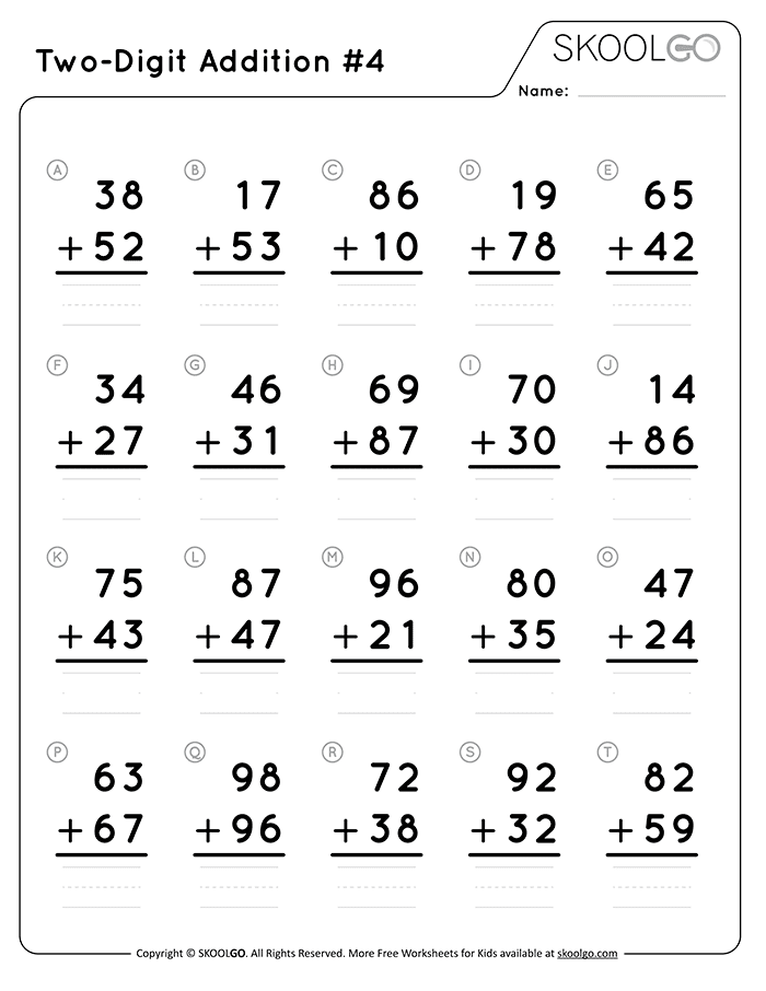 Two-Digit Addition 4 - Free Black and White Worksheet for Kids
