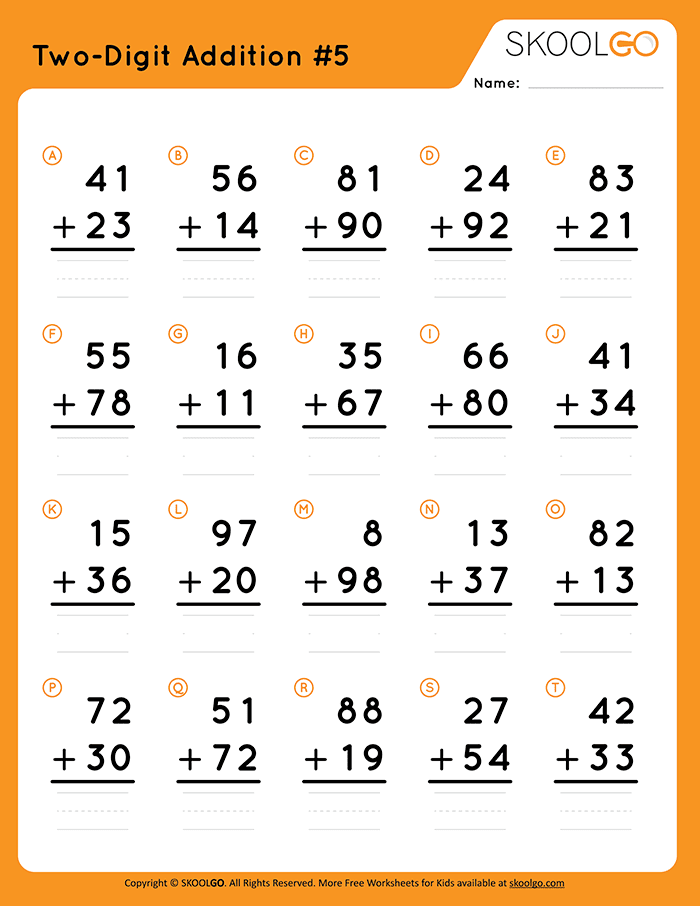 Two-Digit Addition 5 - Free Worksheet for Kids