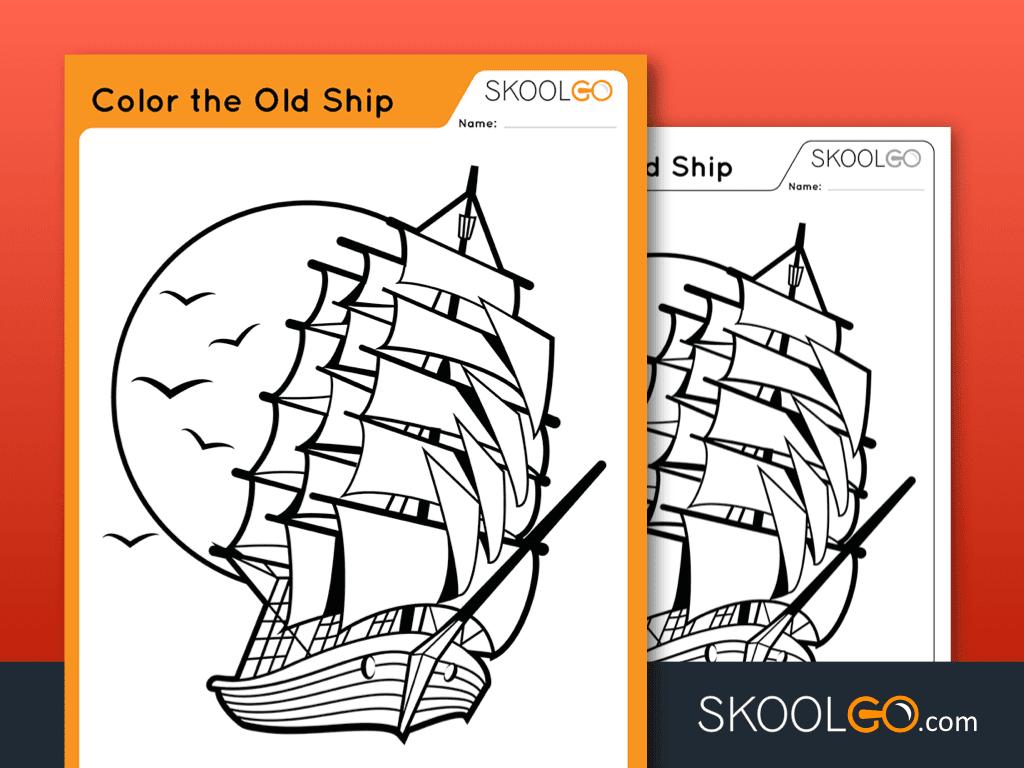 Free Worksheet for Kids - Color The Old Ship - SKOOLGO
