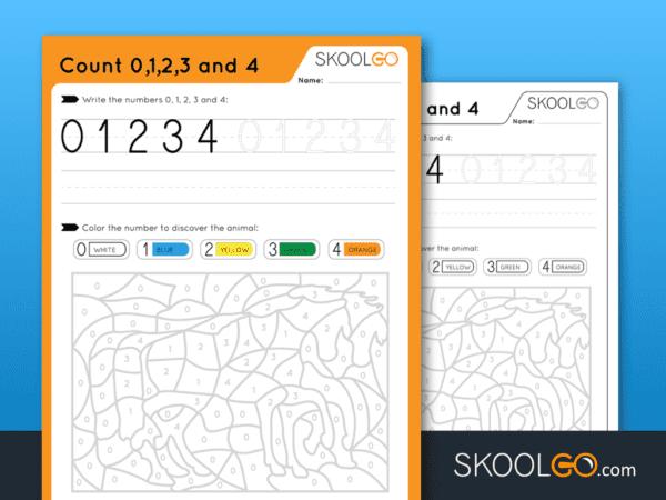 Free Worksheet for Kids - Count 0-1-2-3-4 - SKOOLGO
