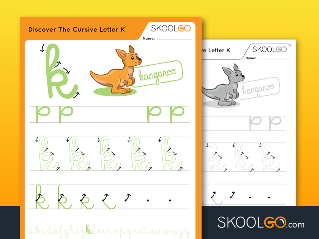 Free Worksheet for Kids - Discover The Cursive Letter K - SKOOLGO
