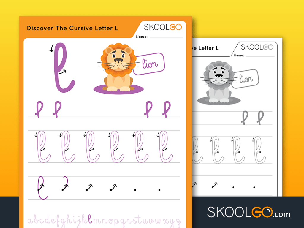 Free Worksheet for Kids - Discover The Cursive Letter L - SKOOLGO