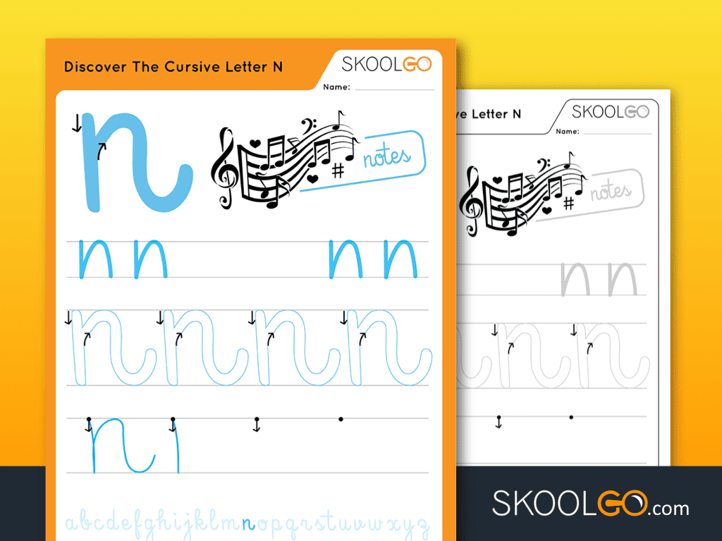 Free Worksheet for Kids - Discover The Cursive Letter N - SKOOLGO