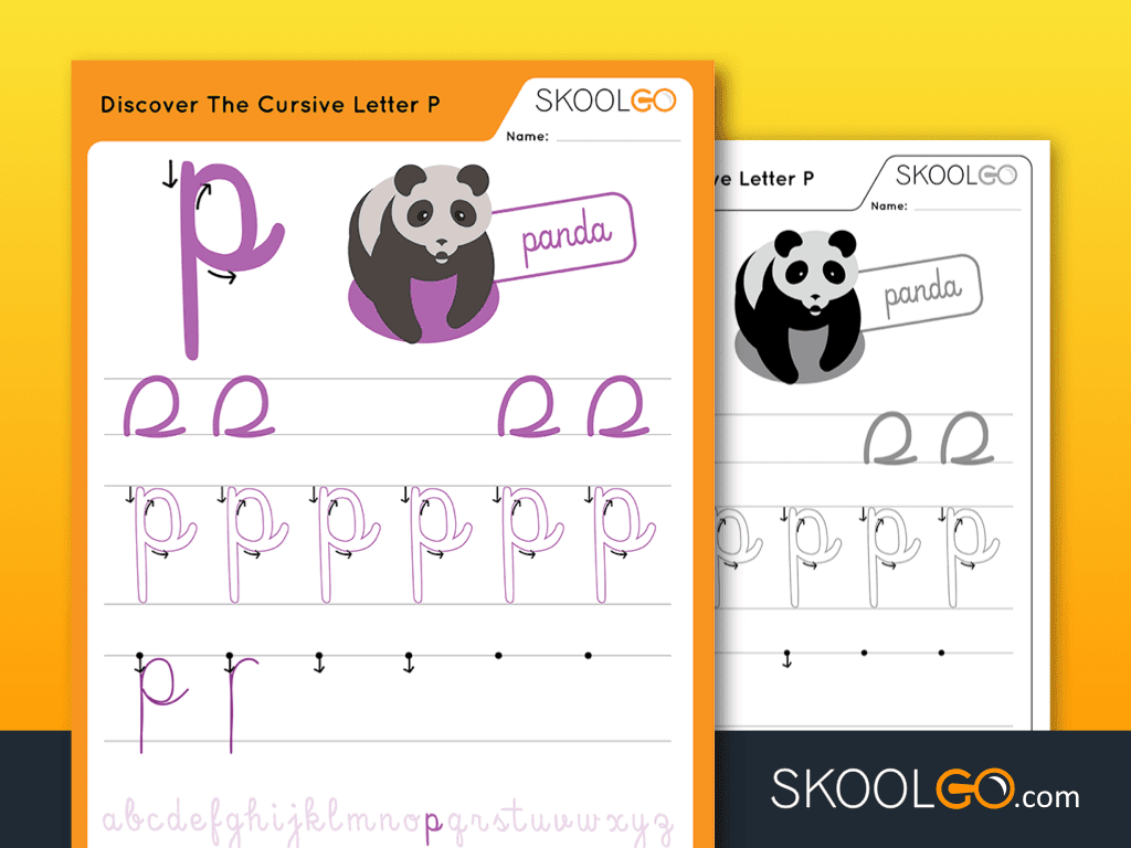 Free Worksheet for Kids - Discover The Cursive Letter P - SKOOLGO