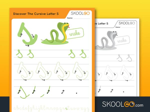 Free Worksheet for Kids - Discover The Cursive Letter S - SKOOLGO