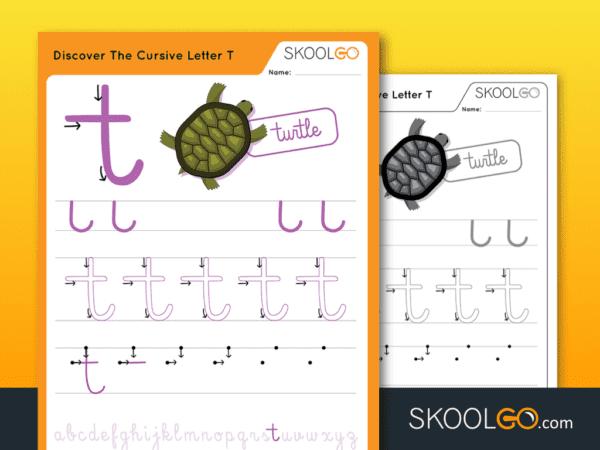 Free Worksheet for Kids - Discover The Cursive Letter T - SKOOLGO