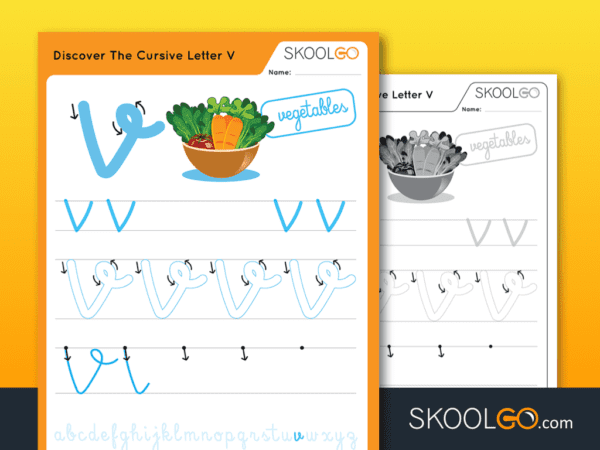 Free Worksheet for Kids - Discover The Cursive Letter V - SKOOLGO