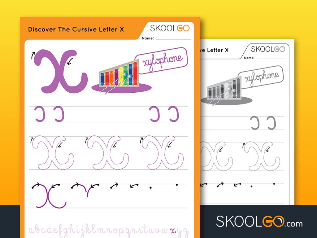 Free Worksheet for Kids - Discover The Cursive Letter X - SKOOLGO