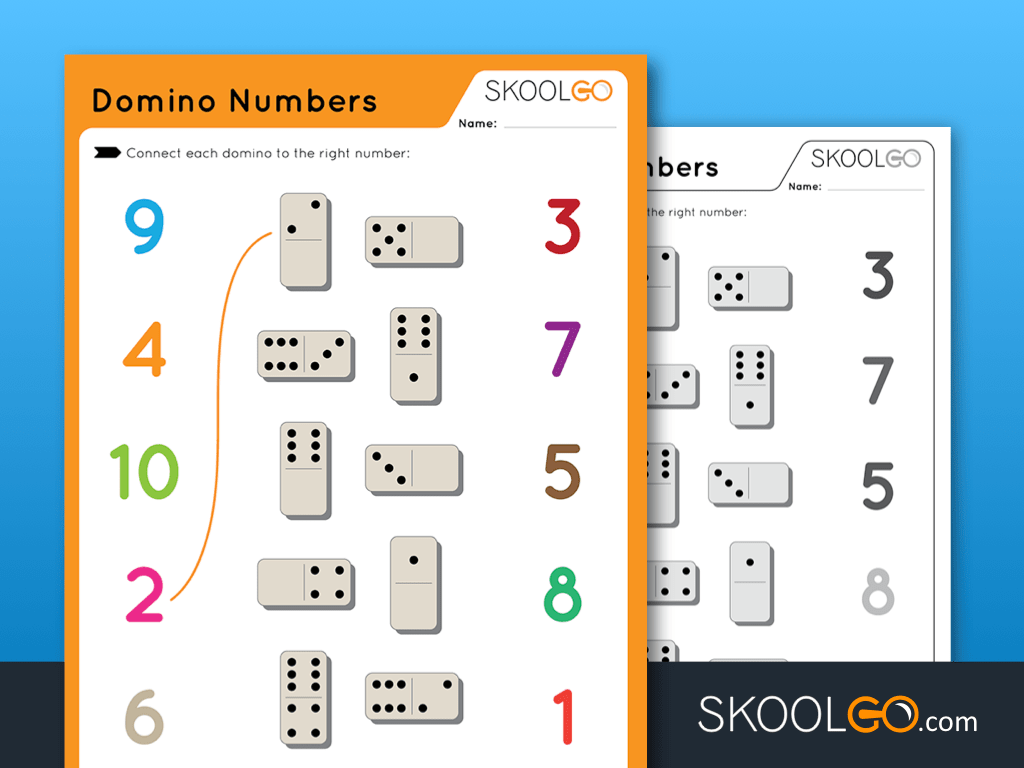Free Worksheet for Kids - Domino Numbers - SKOOLGO