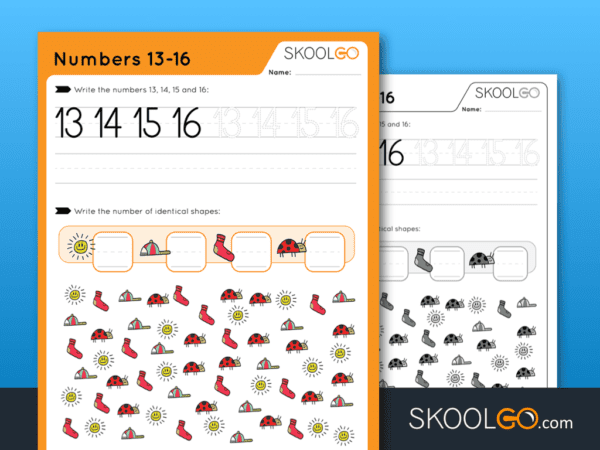 Free Worksheet for Kids - Numbers 13-16 - SKOOLGO