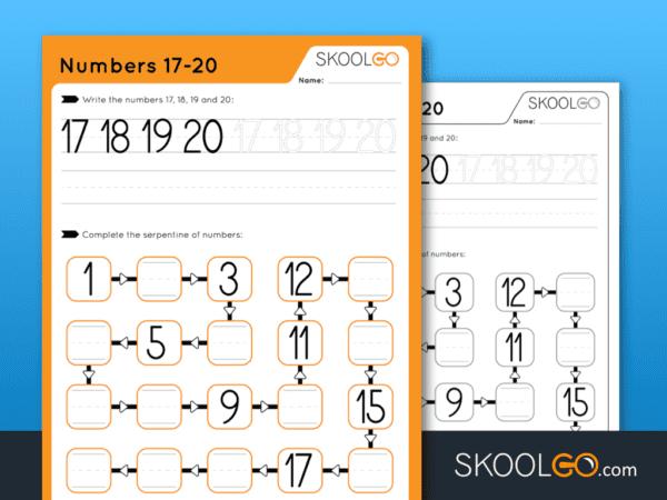 Free Worksheet for Kids - Numbers 17-20 - SKOOLGO