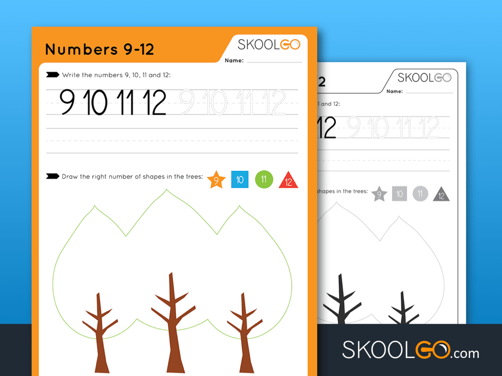 Free Worksheet for Kids - Numbers 9-12 - SKOOLGO