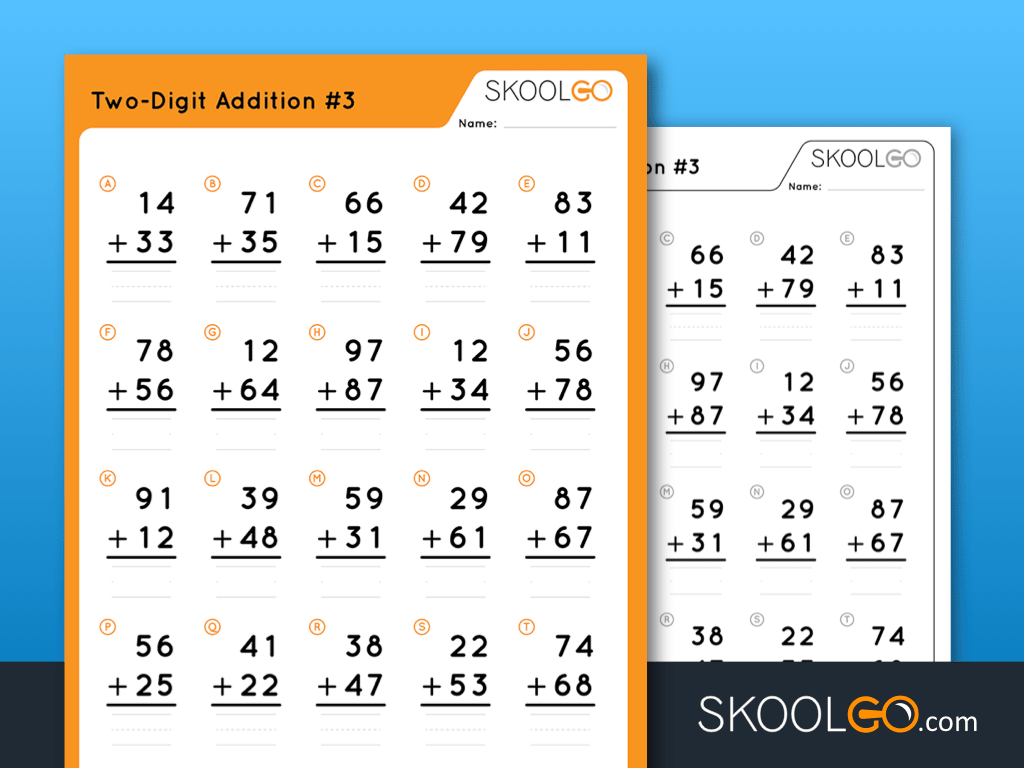 Two-Digit Addition #3 - Worksheet by SKOOLGO.com