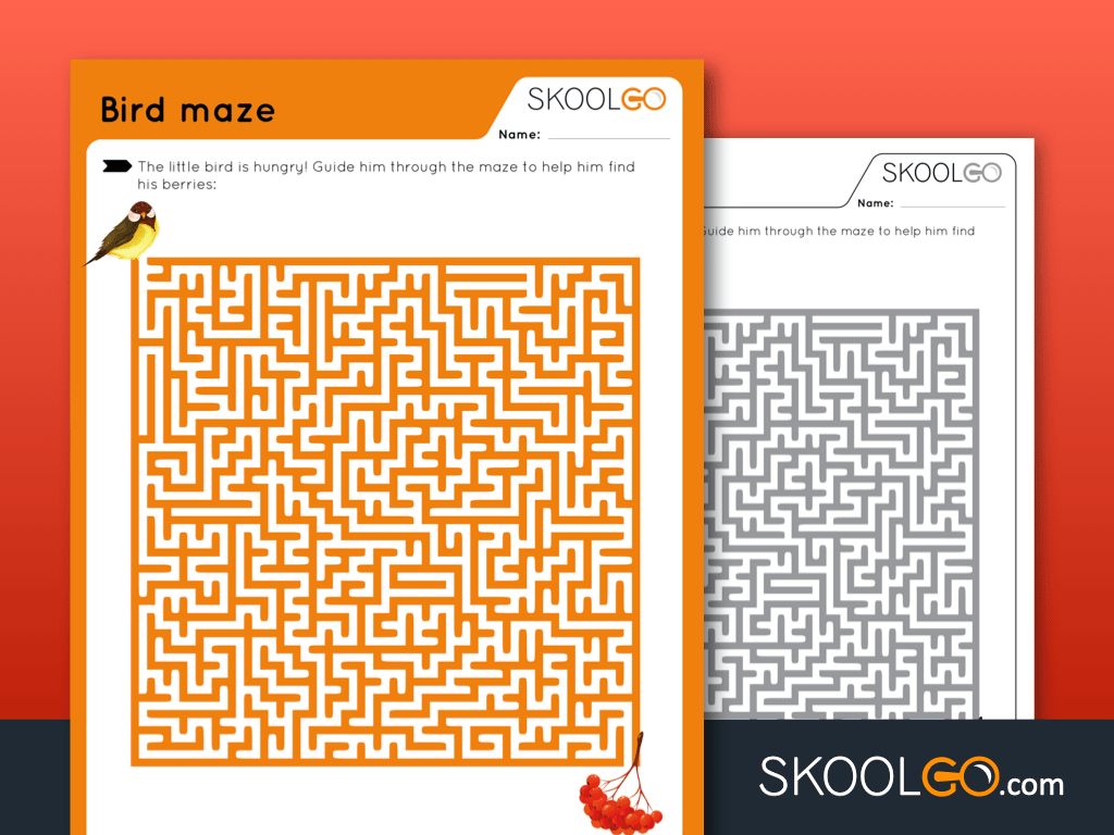Free Worksheet for Kids - Bird Maze - SKOOLGO