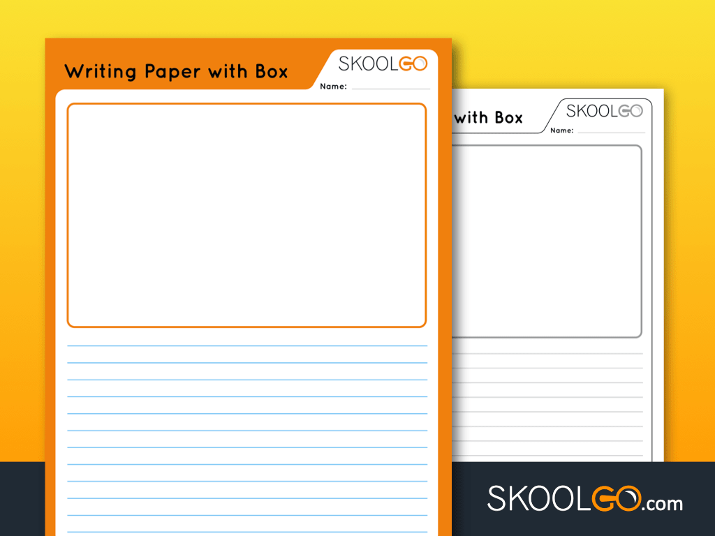 Free Worksheet for Kids - Writing Paper with Box - SKOOLGO