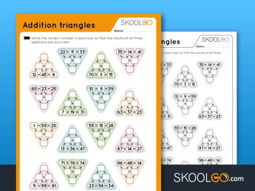 Addition Triangles - Free Worksheet | SKOOLGO