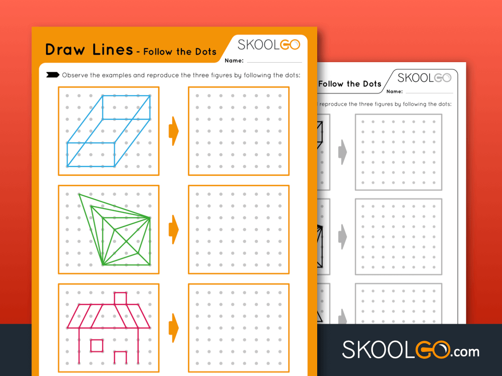 Free Worksheet for Kids - Draw Lines - Follow the Dots - SKOOLGO